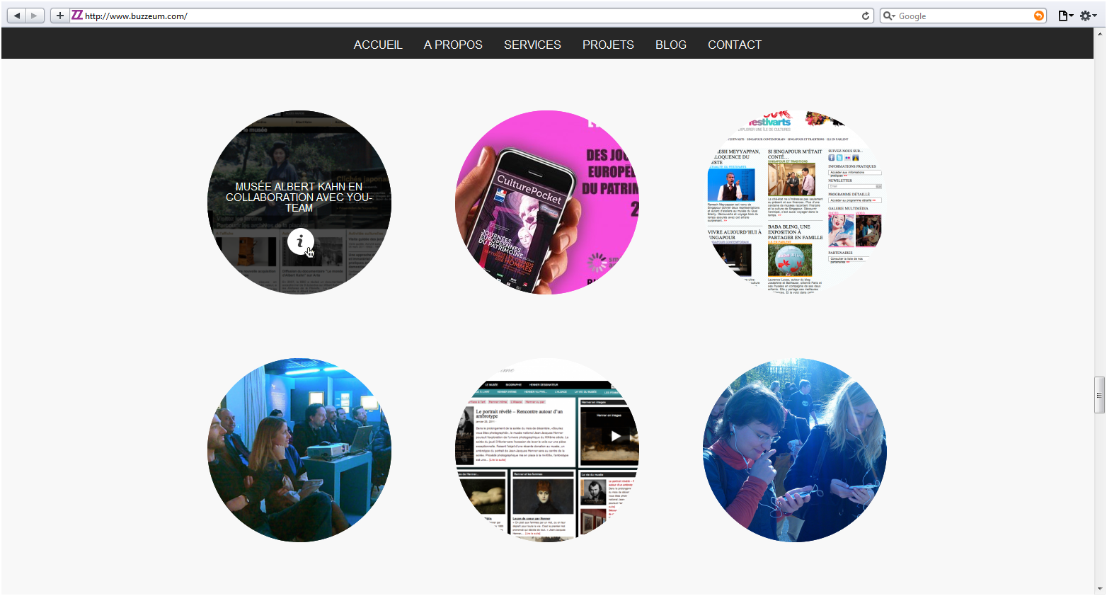 Buzzeum, website screenshot.