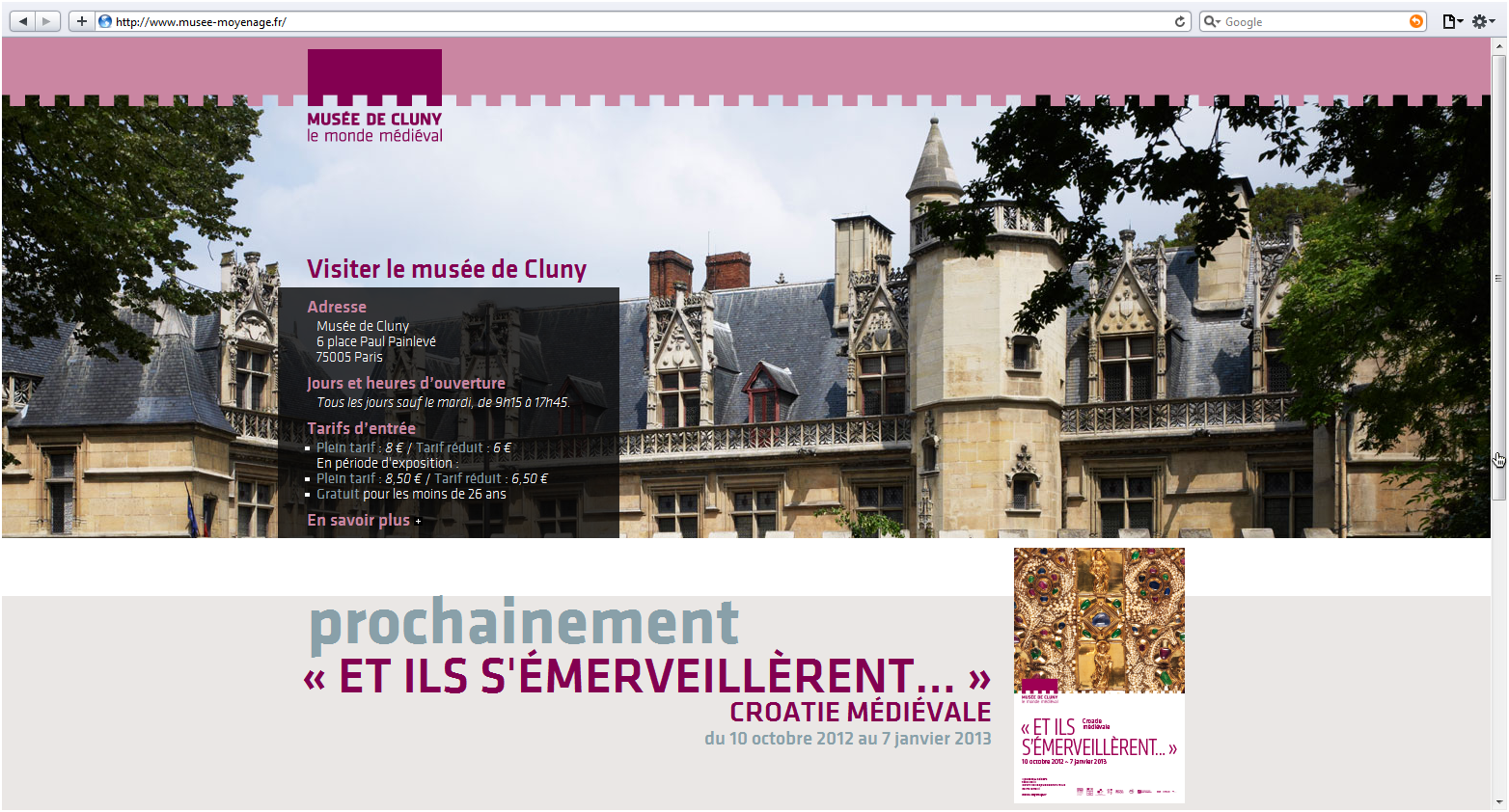 Musée de Cluny, website screenshot.