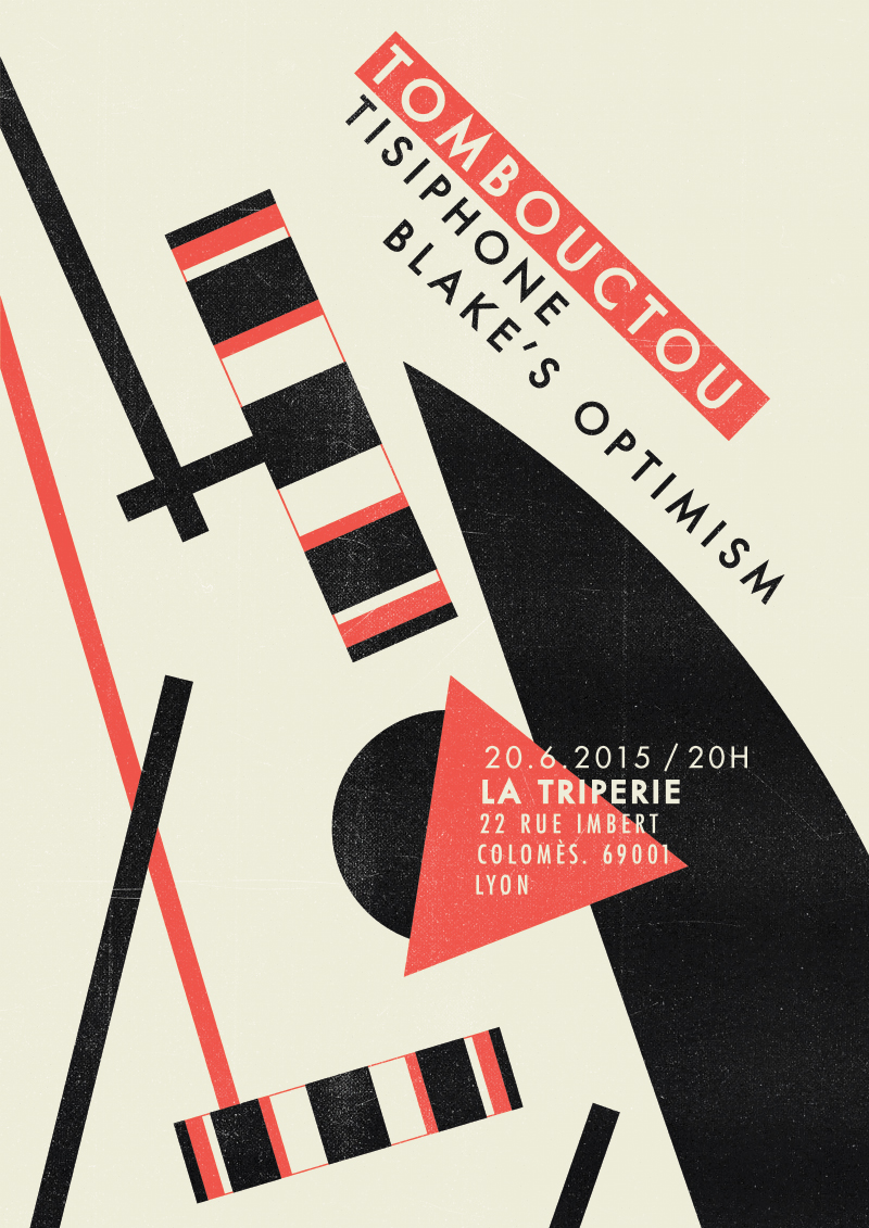 Tombouctou, Tisiphone & Blake's Optimism gig poster.